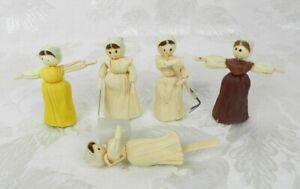 """5 Vintage Corn Husk Dolls 3"""" H"""