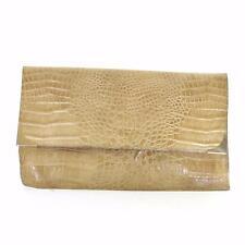 VINTAGE 70's 80's Beige Mock Croc Faux Leather Clutch Bag Chain Strap Retro