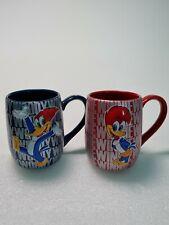 Pair Of Woody & Winnie Woodpecker  Ceramic Mugs Embossed Design PortAventura