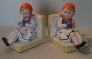 Ravishing Pair Of Bookends State Quarter Uncirculated Two Girls Faience Xxème