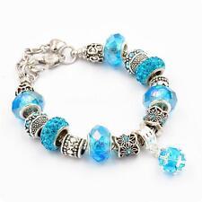 925 Silver Plated Rhinestone Crystal European Charm Beads Bracelet Cuff Bangle