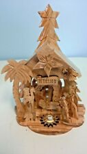Hand Carved Olive Wood Musical Nativity Made in Bethlehem Holy Land