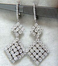 $4,000 1.05ct NATURAL ROUND DIAMONDS MESH MOUNT 3 TIER DANGLE EARRINGS 14KT