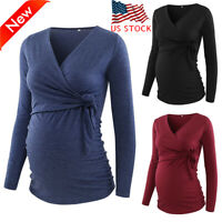 Pregnant Women Long Sleeve Nursing T-shirt Maternity Tops Solid Casual Blouse US