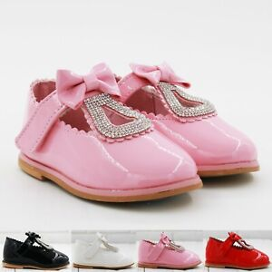 KIDS BABY INFANT GIRL BOW SPANISH DIAMANTE WEDDING PARTY PATENT TODDLER SHOES SZ