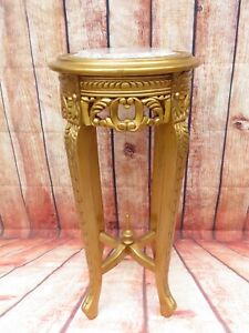 Antique French Carved Gold Gilt Round Side Occasional Table w/ Marble Top