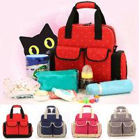 New Mummy Shoulder Bag Baby Diaper Nappy Changing Bag Backpack Tote Handbag 5PC