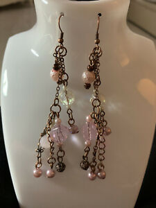 Chandelier Earrings- Long Beaded Drops - Pink Crysals With Pearls - Gift - NEW