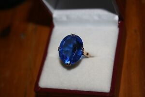 100% Genuine Vintage 18k Solid Yellow Gold 9.6 cts Blue Spinel Ring Sz 5.5 US