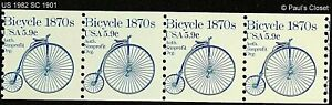 US 1982 1870 BICYCLE 5.9¢ BLUE SC 1901 MNH OG COIL STRIP OF 4/5.9¢  VERY FINE