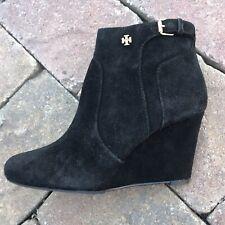 Tory Burch Black Ankle Boots Womens 7 Brenda Suede Wedge Heel NIB