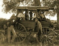 """1890 Group with Horse-Drawn Carriage Old Vintage Photo 8.5"""" x 11"""" Reprint"""