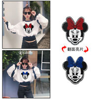 Mickey Mouse Blue to Red Reversible Sequin Patches Glitter Sew on Applique Cloth