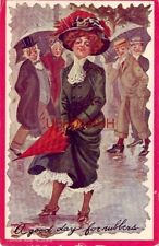 1909 A Good Day For Rubbers - woman in the rain