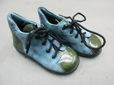 Micio Size 6 Baby Boy Lace Leather Blue/Green Made In Italy Ankle Boots 1h