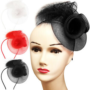 LADIES DAY WOMENS FEATHER LOOPED FASCINATOR RACES WEDDING OCCASION HEADBAND BAND