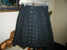 Banana Republic Womens Black Eyelet A Line Skirt W/ Pleats Size 6 Petite NWOT