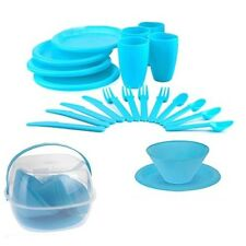 30pc Plastic Picnic Set Outdoor Camping Party Dinner Plate Cutlery & Storage Box