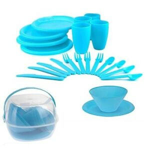 30pc Plastic Picnic Set Outdoor Camping Mug Party Dinner Plate Cutlery Lunch Box
