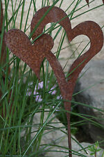 Edelrost Herz am Stab Garten Stecker Herzen Kübel Rost Beet Metall Deko Geschenk