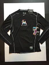 Nike Pro Combat Miami Marlins Dri-Fit Long Sleeve Shirts 709969 Mens Size XL