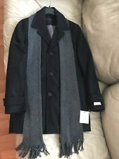 Men's Calvin Klein Winter Jacket Wool Scarf Coat Black Sz. S