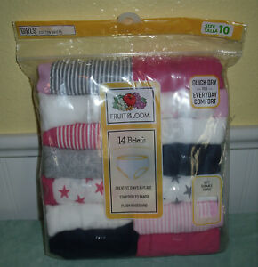 Fruit of the Loom Girls Cotton Briefs 14 Pack Size 10 Assorted Pink New