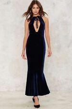 Nasty Gal Bid Adieu Velvet Maxi Dress XSMALL blue new with tags