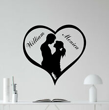 Custom Name Love Heart Wall Decal Loving Personalized Vinyl Sticker Mural 260xxx