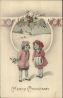 Christmas - Boy & Girl w/ Holy - Hand Colored c1915 Postcard