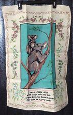 Australia Koala Bears Floral Vintage Kitchen Linen Dish Tea Towel Aqua Pink Crem