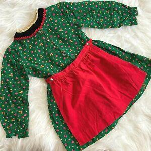 Vintage Girl Dress 3T Floral Green Cottagecore Pioneer Apron Scandinavian