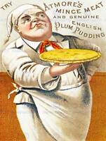 ADVERT FOOD MINCE MEAT ENGLISH PLUM PUDDING CHEF PIE FLAN PASTRY UK PRINT BB7413