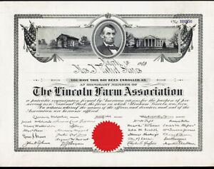 Lincoln Farm Association, 1909 Issued Honorary Member Cert., VF ABN Black