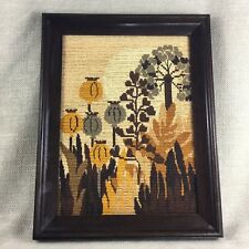 Vintage Framed Tapestry Wool Needlepoint Art Deco Poppy Embroidery Panel