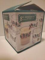 Vintage Christmas SET OF 8 ROCK GLASSES HOLLY DESIGN 10oz eggnog whiskey