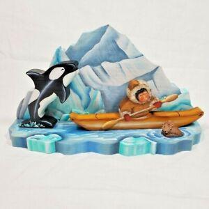 Vintage Alaska Folk Art Indigenous Kayaker Whale Iceberg Seal Muriel Swanson