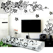 Black Flowers Removable Wall Stickers Wall Decals DIY Decor Mural Home Art
