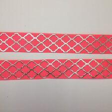 "Pink/Silver Foil Lattice pattern 7/8"" Printed Grosgrain Ribbon 1m"