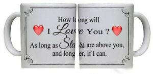 "Beautiful "" How long will I Love You "" Mug Valentines Hearts Stars Present Gift"