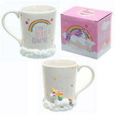 Puckator I Don't Believe in Humans Mug Unicorn on Clouds Ceramic White
