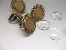 5 x 20mm Vintage Adjustable  ring bases & 20mm glass Cabochons~Ring Making Kit