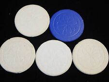 5 - Vintage Pressed Paper 4 Leaf Clover Gambling Poker Chip 1 Blue 4 White