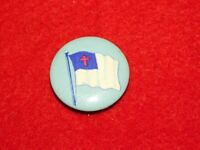 VINTAGE PINBACK BUTTON RED CROSS FLAG