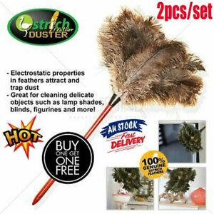 2PCS Anti Static Genuine Ostrich Feather Duster Wooden Handle Brush Clean