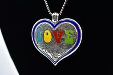 BRIGHTON NWT Summer of Love Enamel Heart Pendant Silver Necklace 70s Theme Bin3