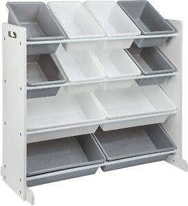 ONVAYA® Spielzeug Organizer Noah   Regal   Kinderregal mit Boxen   grau-weiß