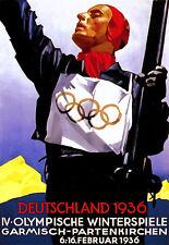 Deutschland Germany Winter Olympics Skiing 1936 A3 Art Poster Print