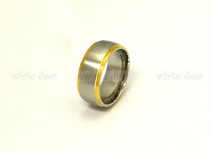 8 mm Men's Women's Silver Stainless Steel Gold Trim Band Ring Comfort Fit