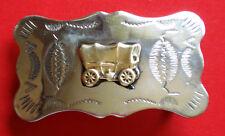 Vintage Chambers Belt Co Nickel Silver Western Belt Buckle USA